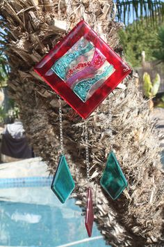 Fused Glass Windchime/Suncatcher Red Waves by JMFusions on Etsy, $60.00