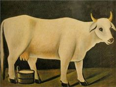 White cow on a black background - Niko Pirosmani, Wikipaintings