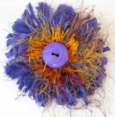 Sari Silk Fashion Brooch Purple and Orange of Free by SallyManke