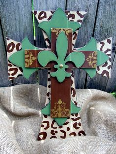 Green and Leopard Hand Painted Wooden Cross by PoshReCreations, $34.00