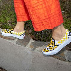 ac12f0f24db Checkerboard   sunflowers  What more could you need. Start designing your  own pair of