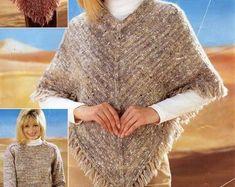Womens Poncho knitting pattern pdf download Girls Poncho | Etsy Pull Poncho, Poncho Cape, Hooded Poncho, Sweater Cape, Poncho Knitting Patterns, Crochet Poncho, Knit Patterns, Crochet Pattern, Girls Poncho