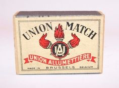 vintage matchbox label Union Match from Belgium