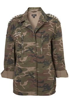 Khaki army jacket with a camouflage print and silver cone stud detail. 100% Cotton. Machine washable.