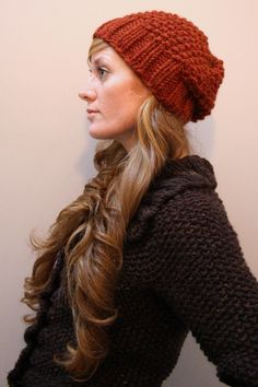 Autumn Hat Seed Stitch Super Bulky Knitting by janerichmond, $4.50