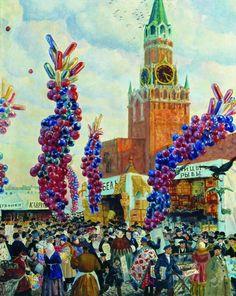 Palm market with Spassky Gate - Boris Kustodiev
