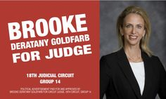 """Front of Candidate Card. Picture by Kevin Roberts. Design by Liz Lamb. http://brookeforjudge.com """"Justice for All: Putting People First."""""""
