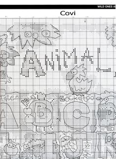 Animal alphabet sampler chart 2