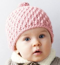 Haakpatroon babymutsje van het garen Phildar partner 6