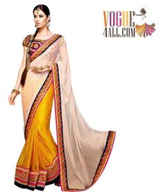 ** GORGEOUS EXCLUSIVE WEDDING WEAR EMBROIDERED NET AND SILK VISCOSE SAREE ***