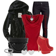 I love the jeans and the jacket. That color red is sexy, but the shoes are a no go maybe dull down the heart-shaped matching accessories.