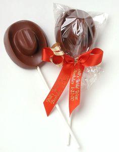 Chocolate Cowboy Hat Lollipop $3.40 - cute favor idea.