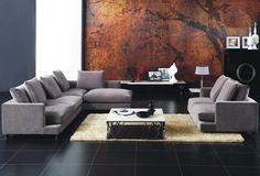 minimalist gray sectional sofa 2013 Modern Bedroom Furniture, Dining Room Furniture, Cool Furniture, Furniture Ideas, Grey Sectional Sofa, Fabric Sectional, Sleeper Sofa, Sofa Bed, Sofa Set Designs