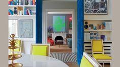 Blue velvet upholstered doors