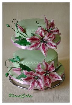 Tiger Lilies Wedding Cake