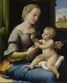 Madonna dei garofani. 1506-1507  27.9×12.4. National Gallery Londra