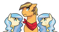 Culture Shock by kilala97 on DeviantArt (the two mares are the children of the Flim Flam Brothers and Aloe and Lotus)