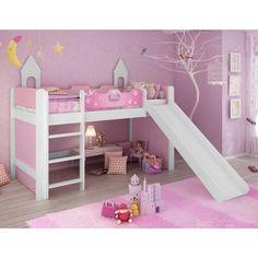 Cama Infantil Princesas Disney Play com Escorregador Branco Pura Magia