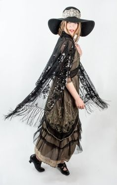 Edwardian era to early 1920s style dress, shoes and shawl. Shop these and others at VintageDancer.com