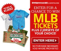 $1,000 MLB Game Tickets with 2 Jerseys  #Sweepstakes #MLB Game Tickets