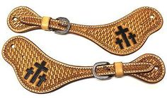 3 Cross and basket pattern tooled straps with quality hardware/buckles. Spur straps made for many uses show, barrel racing, and rodeo events. Spur straps are made with quality leather and hardware for