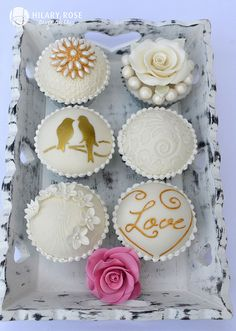 Wedding stencil cupcakes from Hilary Rose Cupcakes, UK.  A work of art.