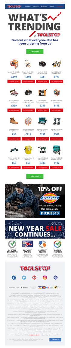 Toolstop's use of Social Proof in their latest email #socialproof #digitalmarketing #marketing #emailmarketing