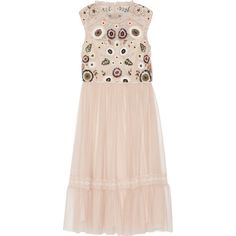 Needle & Thread - Embellished Lace-trimmed Tulle Dress ($185) ❤ liked on Polyvore featuring dresses, blush, neon dress, pink dress, pink sequin cocktail dress, sequin embellished dress and vintage looking dresses