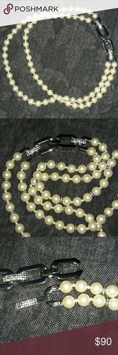 """NWOT Talbots Double Strand Faux Necklace Unique and beautiful, this double strand faux pearl necklace from Talbots has an overlapping look, as seen in picture 4. Between each 3rd pearl is a silver tone crystal ring. The clasp is silver tone, with glittery crystals that sparkle in the light. Very well made, it has some weight, but not too heavy. No 925 stamp I can find, but it's such good quality I don't think it will tarnish (just my opinion). Full length is 21"""" long. Each pearl is 1/4""""…"""