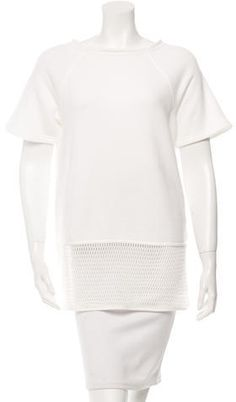 T by Alexander Wang Mesh-Trimmed Short Sleeve Sweatshirt w/ Tags White T, Hoodies, Sweatshirts, Alexander Wang, Crew Neck, Short Sleeves, Mesh, Tags, Stylish