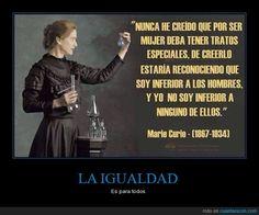 Una de las frases de Marie Curie - Es para todos http://ift.tt/1MkoWd3