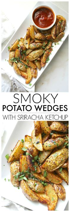 A quick snack that has all of the best flavors - these Smoky Potato Wedges with Sriracha Ketchup are simple, savory and a side dish everyone will love | ThisSavoryVegan.com #thissavoryvegan #vegansnack #bakedfries