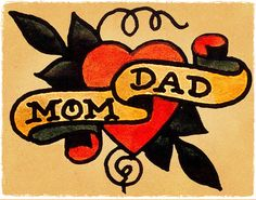 Mom Heart Dad Banner Vintage Sailor Jerry Inspired Traditional Tattoo