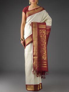 Buy Cream Maroon Zari Silk Handwoven Kanjivaram Saree Sarees Woven Spell Elegant from Tamil Nadu Online at Jaypore.com