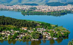 Ioannina and Lake Pamvotis, also known as Lake Ioannina, at an altitude of 483 meters above sea level. 12 Image, Sea Level, Stone Houses, Wonders Of The World, River, Island, Adventure, Outdoor, Greece Trip