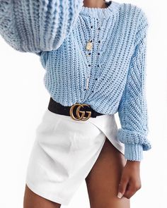 light blue oversized knit sweater and white mini skirt. Cute and casual fall or - Gucci Belt - Ideas of Gucci Belt - light blue oversized knit sweater and white mini skirt. Cute and casual fall or winter outfit. Mode Outfits, Skirt Outfits, Winter Outfits, Casual Outfits, Fashion Outfits, Womens Fashion, Fashion Clothes, Fashion Fashion, Gucci Outfits