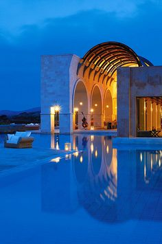 Blue Palace Resort & Spa, Elounda—Arsenali Pool by night