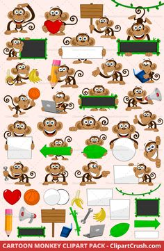 The Best Vector Cartoon Clip art Monkey Mascot Character set for logos, teachers and elementary school kids. Happy Chimp Monkey with blank signs and other props. Royalty Free Commercial Use.
