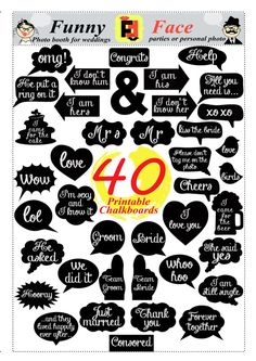 40 DIY PDF Printable Chalkboard Signs in 2 size Speech Bubbles and Photo Booth Props  for weddings, birthday parties