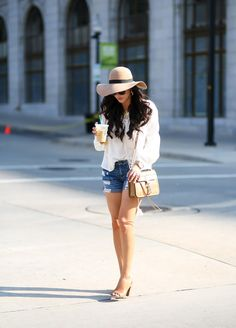 JULY 10, 2015 Floppy Hats & Boyfriend Shorts - TOP: Topshop | DENIM: Rag & Bone (these are SO cute and under $50!) | HEELS: Vince Camuto (almost identical here & here.. both are on sale!) | HAT: Topshop (love this hat so much!) | BAG: Rebecca Minkoff | SUNGLASSES: cheapies (similar here & here) | NECKLACE: Love Always (3xl, 16″) | WATCH: Michael Kors | GOLD CHARM BRACELET: old but I just ordered this one