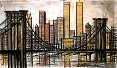 Bernard Buffet - New-York : Brooklyn bridge - 1989  oil on canvas 114 x 195 cm ©ADAGP