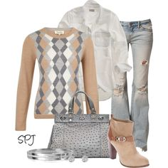 Neutral Argyle, created by s-p-j on Polyvore