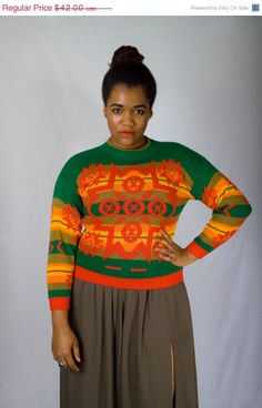 Vintage 70s Kelly Green and Red Slim Skinny Fit Ugly Christmas Kwanza Sweater Chevron Heritage Print