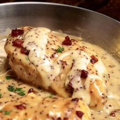 Chicken in honey and mustard sauce ready in 30 minutes - Recipes - Ma fork - Recetas - Cuisine - Meat Recipes Creamy Honey Mustard Chicken, Homemade Honey Mustard, Honey Mustard Sauce, Creamy Chicken, Bacon Recipes, Crockpot Recipes, Soup Recipes, Chicken Recipes, Chicken Meals