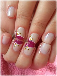 Nail patterns or nail art is an extremely hassle-free concept - patterns or art which is used to embellish the finger or toe nails. You can use them mostly to enhance a dressing up or improve a daily look. French Tip Nail Designs, Classy Nail Designs, French Tip Nails, Toe Nail Designs, Super Cute Nails, Pretty Nails, Pink Nail Art, Pink Nails, Fancy Nails