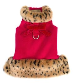 Red Leopard Muff Dog Coat  Here's a new color added to the popular Muff Jacket line from Susan Lanci Designs. Rich luxurious red microsuede with a velvet bow for added styling on the reinforced d-ring patch. Lined with super soft Chenille which tends to make them run a bit smaller.  Velcro attachment at the neck and chest make for a flexible, comfortable and secure fit.