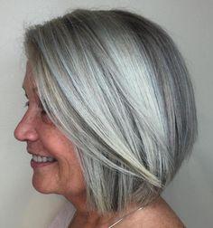 Straight Silver Bob For Older Women