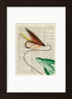 Flying Fish With Trout Fly Mounted / Matted Ready To Frame Dictionary Art Print. Mounted /Matted and Printed on 1890's Italian Dictionary. All our dictionary pages have that beautiful golden patina color that only comes from age. The result is a unique and absolutely beautiful print that is definitely a conversation piece. Page Size 180 mm x 140 mm / 5.5 x 7.5 inches. Mount Opening 130 mm x 170 mm / 5 x 6.5 inches. FRAME NOT INCLUDED. Every print comes with a mat/mount which means the…