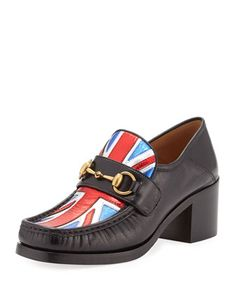 790 Vegas+Union+Jack+Loafer+Pump,+Black+by+Gucci+at+Neiman+Marcus.