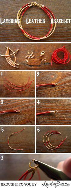Tutorial: Leather Bracelet DIY bracelet fil cuir et tubes dorés